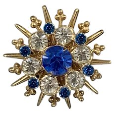 Starburst Blue and Gold Tone Brooch