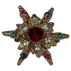 Multi Color Stone, Starburst Brooch