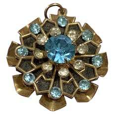 Turquoise Blue Starburst Rhinestone Pendant