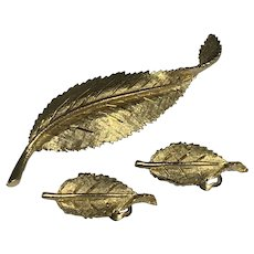 BSK Gold Tone Leaf Brooch and Clip Earrings