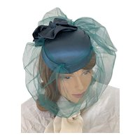 Teal Satin and Tulle 1980s Fascinator, Cocktail Hat