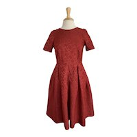 Red Brocade 1960s Party Dress