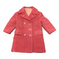 Red Wool Double Breasted 1950s Child's Coat
