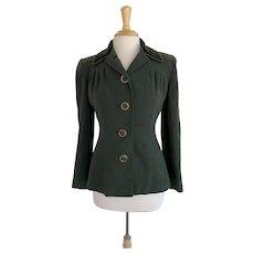 1940s Wool Tailored Blazer with Velvet Collar