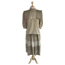 Donna Morgan Fringed Taupe Plaid Skirt and Blouse