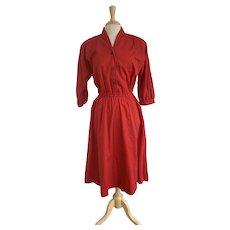 Kay Brandon Red Cotton Twill Dress
