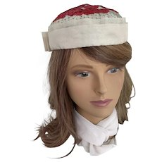 Cream Organza Pillbox Hat with Raspberry Red Floral Embellishment