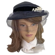 Navy Blue Veiled Brimmed Hat with Lily of the Valley Trim