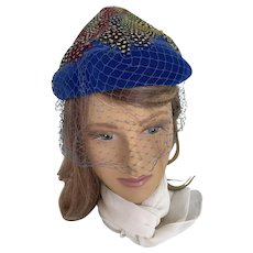 Blue Velvet with Rainbow Feathers, Veiled 1960s Beehive Hat