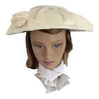 1950s Cream Chiffon Covered Cartwheel/Platter Hat