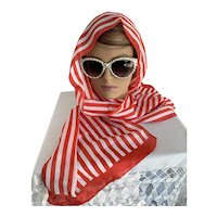 Red and White Striped Head Scarf