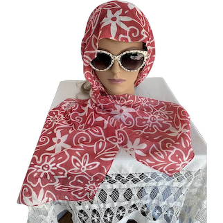 Rosy Red and White Floral Print Chiffon Scarf