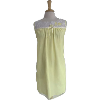 Yellow 1960s Lace Trim Nightgown