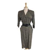 St. Gillian by Kay Unger 1980s Leopard Print Silk Dress