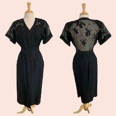 Maritza 1980s Cotton/Ramie Sheer Back Dress