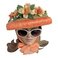 Straw Garden Bonnet With Roses