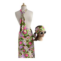 Daisy Print 1970s Maxi Skirt with Sash and Neck Tie