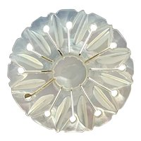 Carved Daisy, Mother of Pearl Brooch