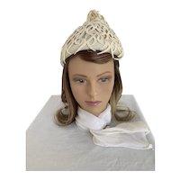 1960s Cis Lace Applique Beehive Hat