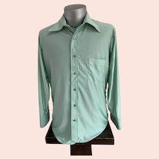 Qiana Silky Sage Green 1970s Mens Shirt
