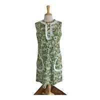 Cotton Print with Lace Trim 60s/70s A Line Day Dress