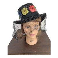 1940s Flowered Tilt Hat