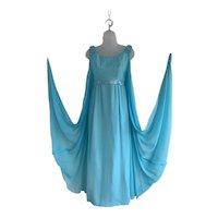 1960s Turquoise Chiffon, Grecian Style Sheath Dress with Watteau Cape