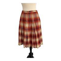 1960s Knee Length Plaid Wool Pleated Skirt