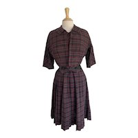 1950s Burgundy and Gray Plaid Cotton Dress and Jacket