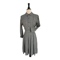 1940s Young Cosmopolitans by Best & Company Plaid, Wool Dress
