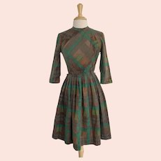 1950s Green and Brown Plaid Cotton Day Dress