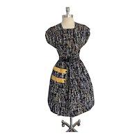 1950s Cotton City Black and Mustard Print Day Dress