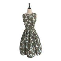 1950s Cotton Rose Print Day Dress