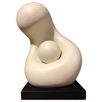 Nice off white MCM Walter Hannula 1963 abstract sculpture titled Mother and Child