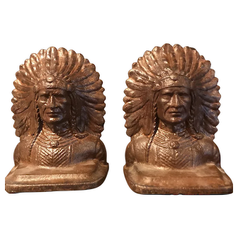 """Early 20th century heavy pair of cast iron """"Iron Will Indian Bookends"""""""