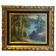 Superb 1950's or 60's original oil on board painting by noted California artist Mary Jarrett.