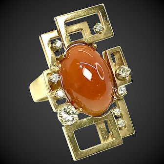 Geometric 14k Gold Ring with Gorgeous Orange Red Jade Cabochon