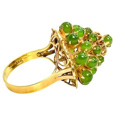 Beautiful Unique Green Nephrite Vintage 14k Gold Ring