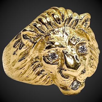 14k Yellow Gold Custom Lion Head with Fine Diamonds Ring