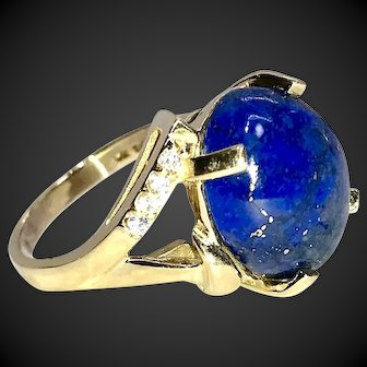 Oh So Blue Lapis Lazuli 14k Yellow Gold Ring