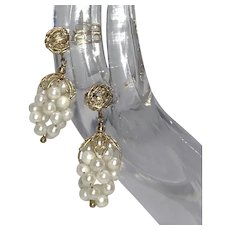 60s Custom Made Cultured Pearl 14k Gold Earrings