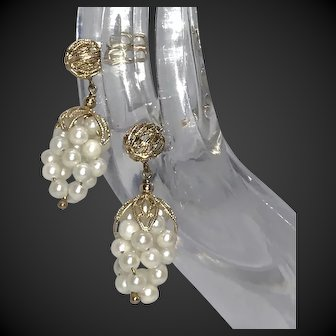 60s Custom Made Cultured Pearl 14k Gold Earrings