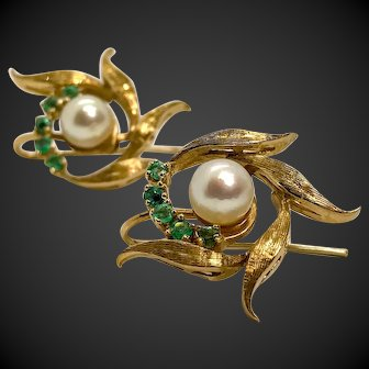 Custom 14k Gold Cultured Pearl and Emerald Earrings 60s