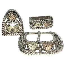 Sterling Silver Belt Buckle and Accents in Genuine Black Hills Gold