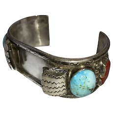 Native American Sterling Silver Watch Cuff with Turquoise and Coral