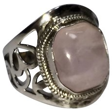 Natural Rose Quartz in a Hand Pierced Sterling Ring