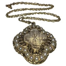 Genuine Seed Pearl and 14k Yellow Gold Florentine Locket with Chain