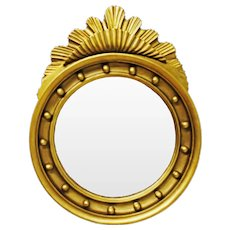 Antique Round Gilt wood  Sunburst Wall Mirror