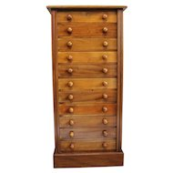 Antique Victorian Mahogany Wellington Chest of Drawers. Tall Document Cabinet