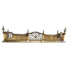 19th Century Antique Brass Fire Fender. Neoclassical, Adam Style Fireplace Curb.